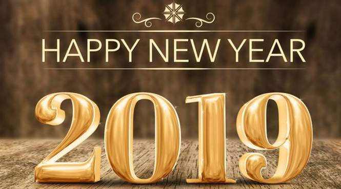 Gold shiny Happy New year 2019 3d rendering at wooden block table and blur wood wall,Holiday greeting card for social media.